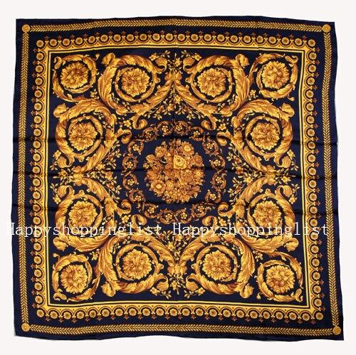Elegante marca hecha a mano 100% crepe satén seda liso 110 cm bufanda - 3