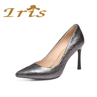 IRIS 2017 Fashion Shoes Woman High Heels Grey Patent Leather Women Wedding Pumps Pointed Toe Sexy