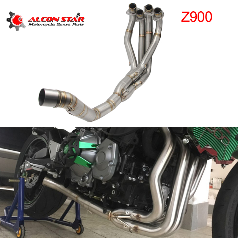 Alconstar- For Kawasaki Z900 2017 2018 Motorcycle Exhaust Middle pipe  System Front Header Pipe With Sensor Tube Slip On Racing