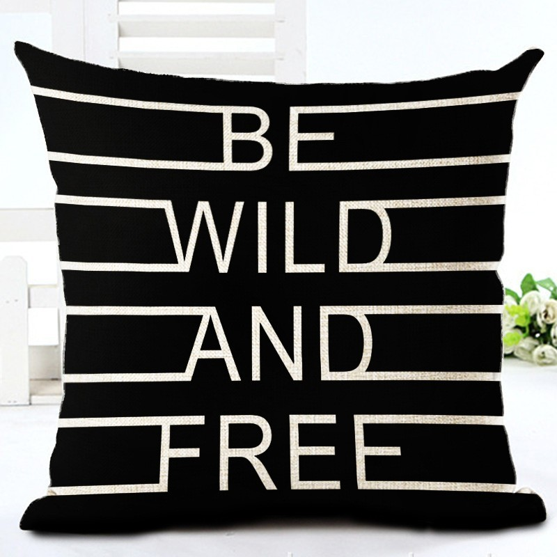 Fashion Style Black And White lines Chair Cushion Decor Cojines Sofa Throw Pillow Printed Cotton Linen Square Fundas 3