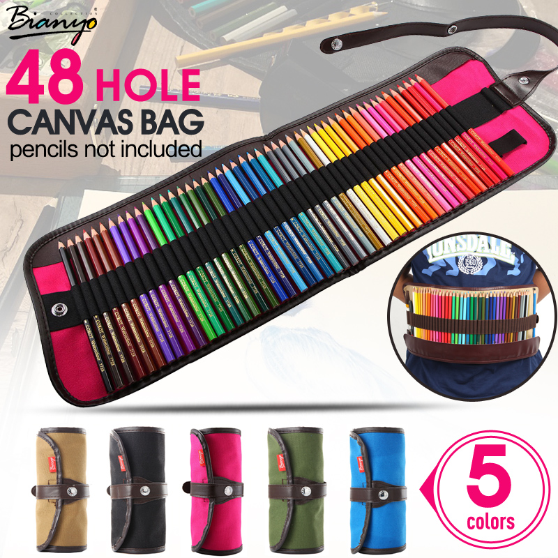 5Color 48 Holes Canvas Roll Pouch Makeup Comestic Brush Pen Storage Pecncil Box School Pencil Case Material Escolar Art Supplies good quality 36 48 72 holes canvas pencil case roll up sketch painting pen box school office pencil stationery bag b066