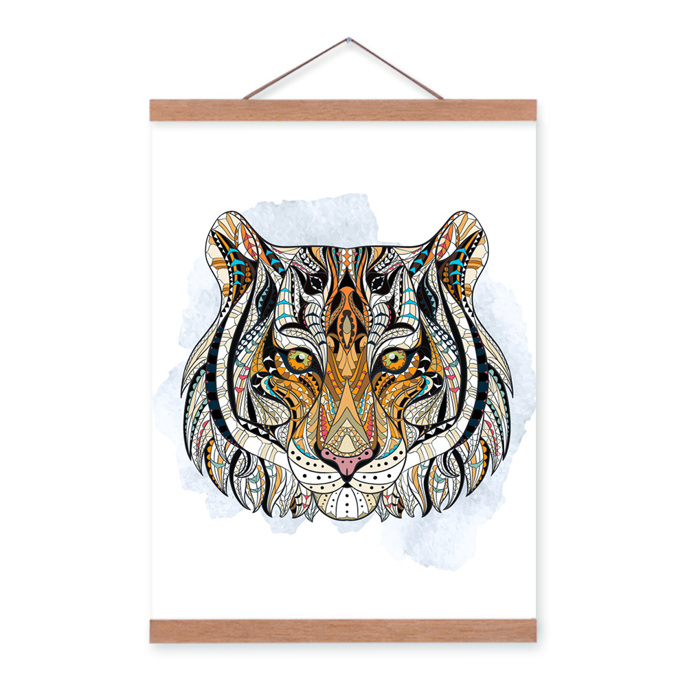 Modern Ancient <font><b>African</b></font> Totem Animal Tiger Head A4 Wooden Framed Canvas Painting Wall Art Print Picture Poster Hanger <font><b>Home</b></font> <font><b>Decor</b></font>