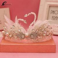 New Handmade Feather Swan Crown Pearl Tiara Beauty Bridal Crowns Baroque Angel Hair Accessories for Women Handmade Party Crowns
