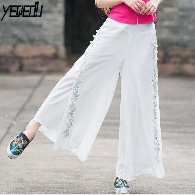 f31ae7efaa #0425 2018 Summer White/black wide leg pants Vintage Embroidery Cotton  linen Dress pants Flare Pantalon femme Chinese style