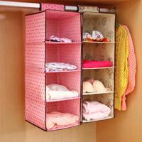 Non Woven Fabric 4 Storey Storage Hanging Wardrobe Cloth Socks Storage Bag