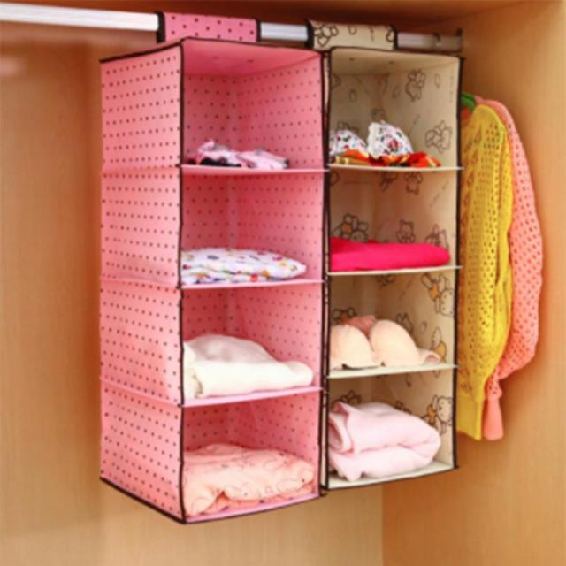 4 storey wardrobe organizer hanging storage bag closet cabinet organizer clothes underwear socks garment bag