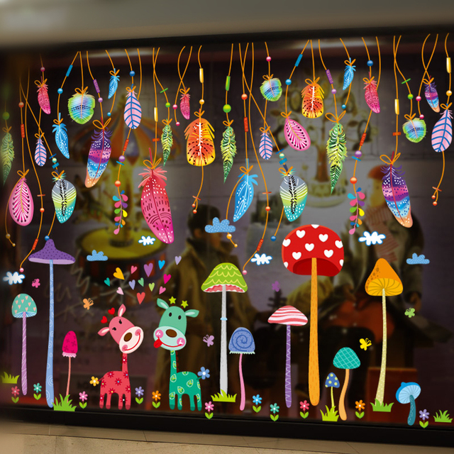 [SHIJUEHEZI] Colorful Feathers Wall Stickers Vinyl DIY Deers Mushrooms Wall Decals for Kids Rooms Kindergarten Decoration