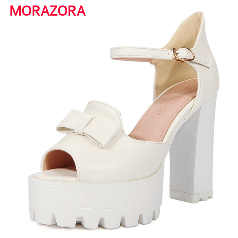 MORAZORA Summer hot sale shoes woman platform party shoes wedding fashion sweet women sandals high heels shoes big size 32-43 big size 32 43 fashion party shoes woman sexy high heels platform summer pumps ankle strap sandals women shoes