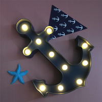 Blue Ship S Anchor Modeling Fairy Nightlight ABS Plastic Table Desk Lamp Room Atmosphere Wedding Party