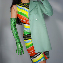 Snake Skin Long Gloves Woman 60cm Patent Leather Over Elbow Emulation PU Bright Animal Green P1370-16