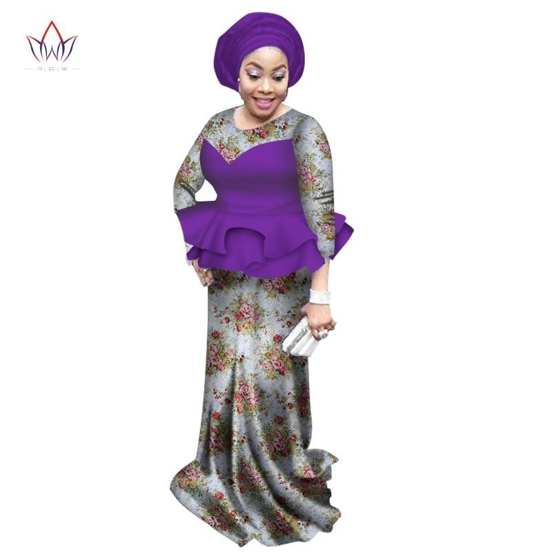 2019 suvel Aafrika kleidid naistele Fashion Design dashiki naiste kleit bazin riche o-kaela pikk pitsikleit looduslikeks 6xl WY1773