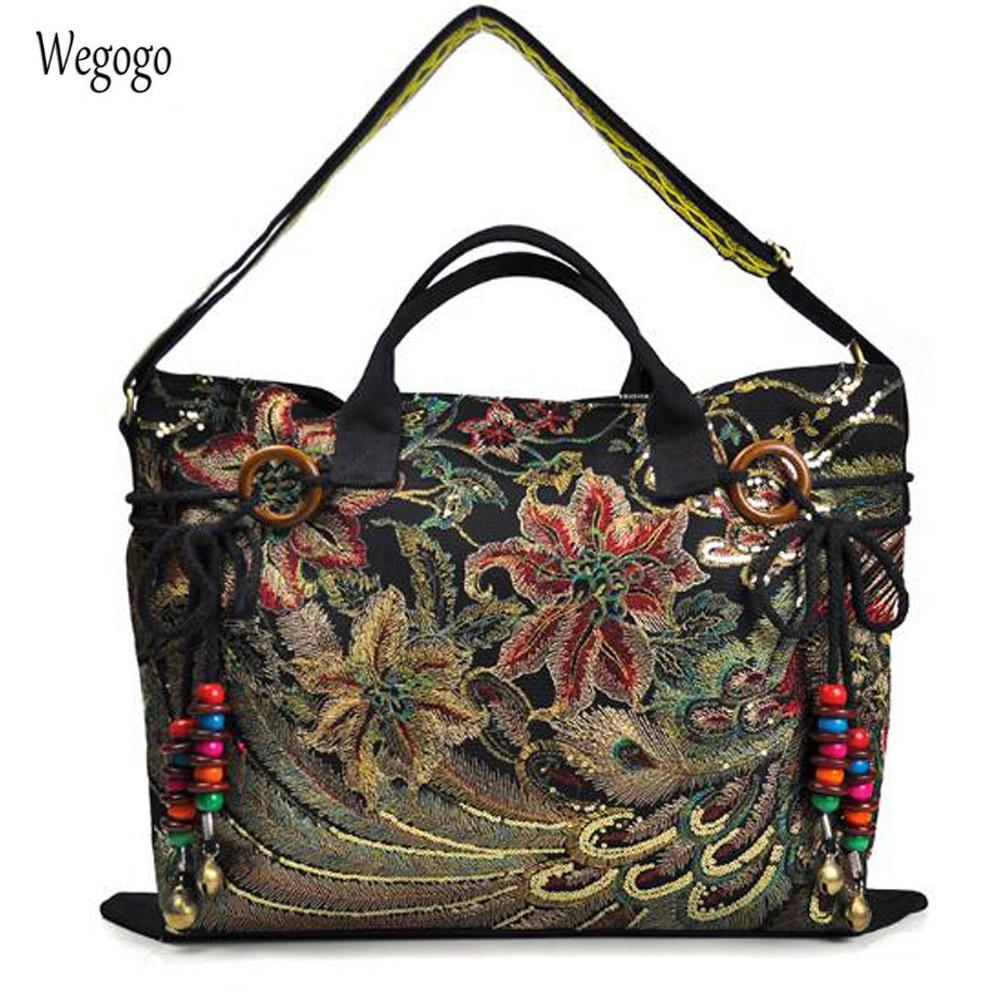 37b18227c106 Винтажная вышивка женская парусиновая сумка Национальные характеристики  Одиночная сумка-мессенджер модная сумка для отдыха сумка