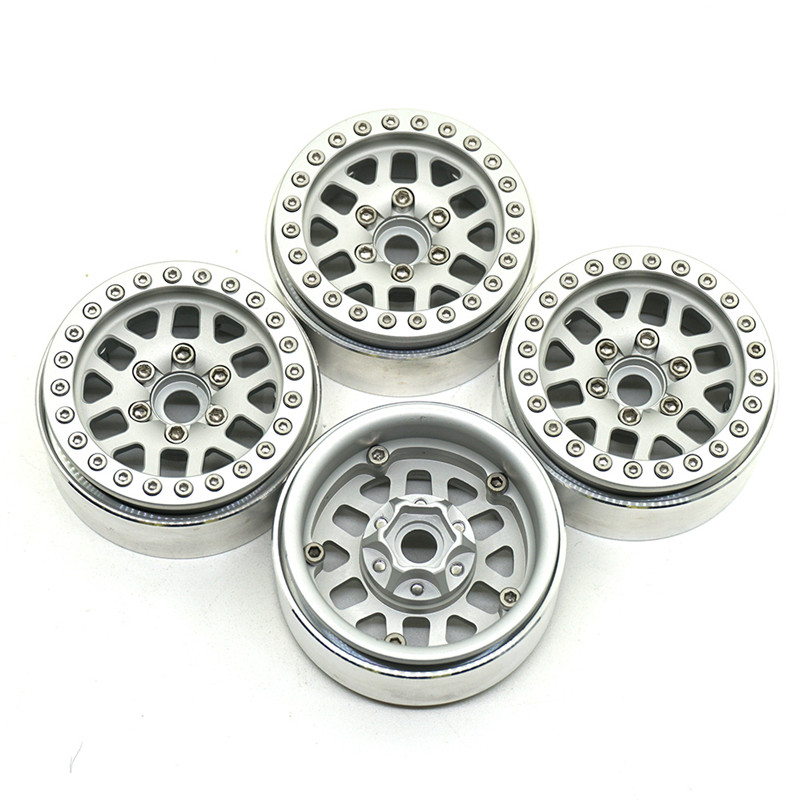 1/10 Silver RC Crawler 1.9'' Wheel Hubs 1.9 Inch Metal Alloy Beadlock Wheel Rims for SCX10 90022 90027 90046 90047 CC01 TRX4 TF2 free shipping 2pcs 1 9 nv version 1 10 scale rc crawler wheels metal beadlock wheel hubs diameter 62mm