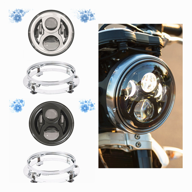Hot sale 7 Chrome Black LED Projector Daymaker Headlight & 7 Bracket Adapter Ring For Harley Davidso Softail Street Glide