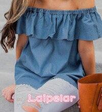 2018 New Women Ladies Summer Off Shoulder Tops Casual Party Jeans Shirt Denim Blouse Fashion Women Clothes Laipelar off shoulder scallop trim denim blouse