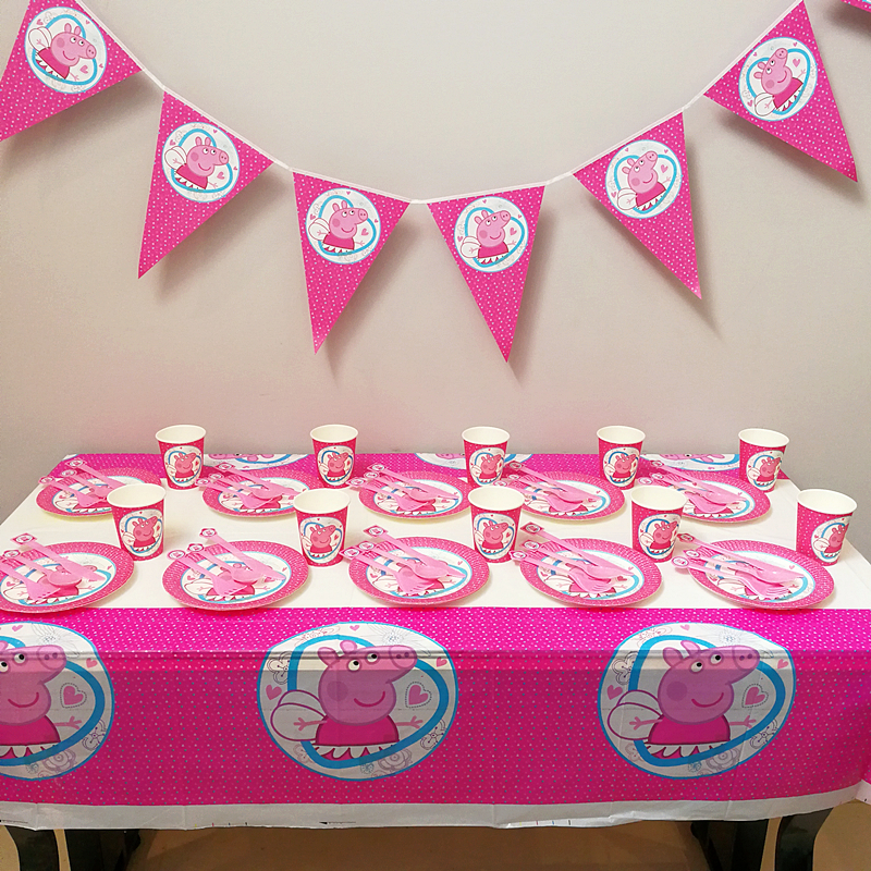 Pink pig 61pcs Disposable Tableware sets Boy Birthday Party Decoration Table Cloths cups ...