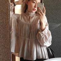 2018 Office Women Blouse Puff sleeve Stand Collar Shirts Loose Solid Color Ladies Tops and Blouses chemisier femme manche longue