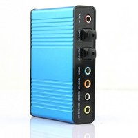 Free Shipping 2014 Hot Deal New 1Pcs Blue 6 Channel 5 1 External Audio Music Sound