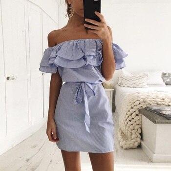 2018 New Shoulder Striped Ruffles Summer woman dress Beach Casual Shirt Short Mini Party Dresses Robe Femme Sexy desigual jurk open shoulder mini vertical striped dress