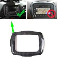 2015 2018 For Jeep Renegade Interior Dashboard GPS Navigation Cover Trim Carbon Fiber Decoration Frame Large Screen Car Styling