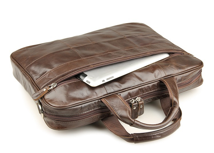 Nouveau mode en cuir véritable hommes Messenger sacs en cuir de vachette homme croix sac décontracté hommes Commercial mallette sac # MD J7334 - 5