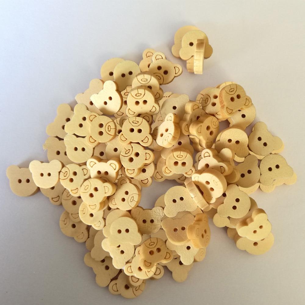 50 шт. деревянные Мультяшные пуговицы медведь деревянными пуговицами натуральное дерево; для шитья для детей детская одежда с пуговицами для Костюмы DIY Скрапбукинг