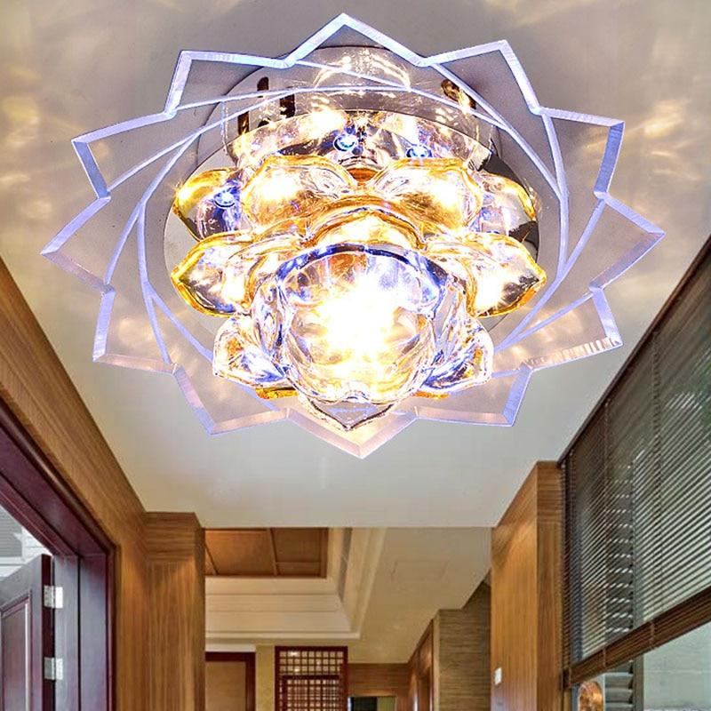 Coloré salon projecteurs moderne minimaliste led cristal lampe couloir lampe lustre plafonnier