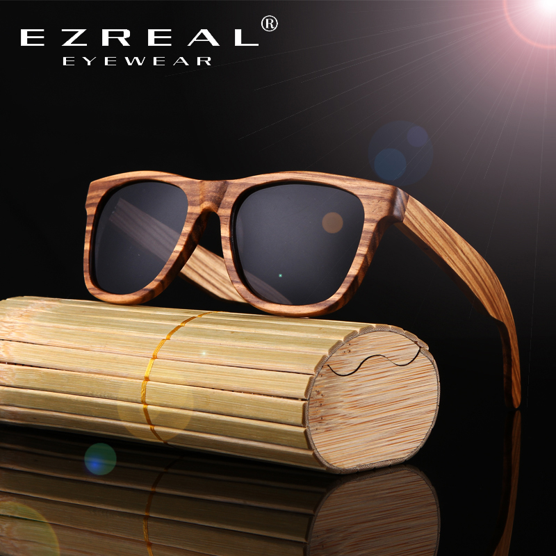 EZREAL Real Top Bamboo Wood Wooden Sunglasses Polarized Handmade Wood Mens Sunglass Sun glasses Men Gafas Oculos De Sol Madera
