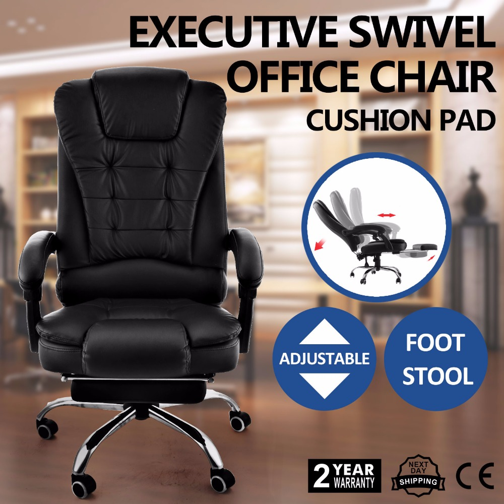 Superland Executive Reclining Office Chair 360 Degree Swivel Ergonomic High Back Executive Chair with Foot Stool (Black Leather Superland Executive Reclining Office Chair 360 Degree Swivel Ergonomic High Back Executive Chair with Foot Stool (Black Leather