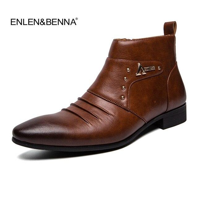 2019 Bahar/Kış erkek Chelsea Çizmeler, İngiliz Tarzı Moda yarım çizmeler, siyah Brogues Hakiki Deri rahat ayakkabılar Martin Çizmeler