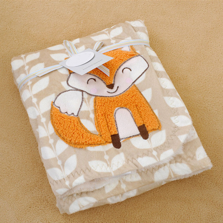 फैशन अच्छी गुणवत्ता बेबी बच्चों कंबल कार्टून लोमड़ी धारीदार नरम बिस्तर बेबी नाप कंबल रजाई एयर कंडीशनिंग घुटने swaddling