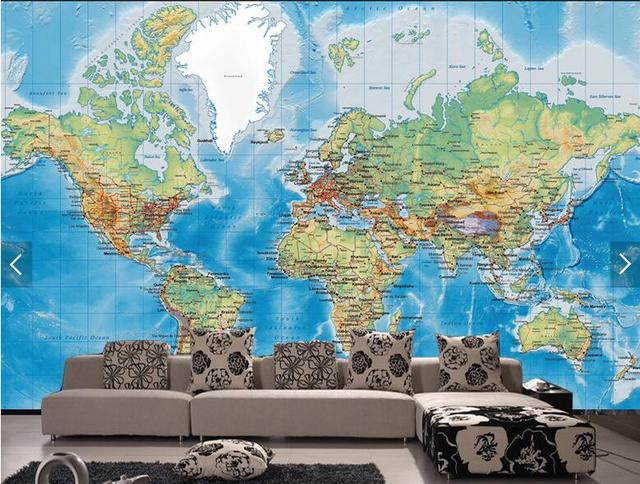 Customize 3D Detailed World Map Wallpaper Mural Wallpaper Bedroom