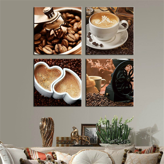Kitchen Canvas Wall Art Coffee Bean Cup Prints Decor 4 Panels Artwork Painting Pictures For Dining Home