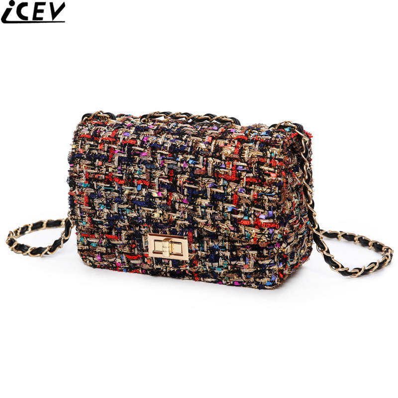 b616feea3513 ICEV new small wool messenger bag ladies leather clutch chain crossbody bags  for women shoulder bag brand designer high quality