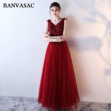 BANVASAC 2018 Flowers Appliques V Neck Beading A Line Long Evening Dresses Lace Sash Backless Party Prom Gowns