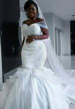 C.V qualité Satin africain sirène robe de mariée longue Cape broderie perles pur blanc sirène robes de mariée 2019 nouveau W0476