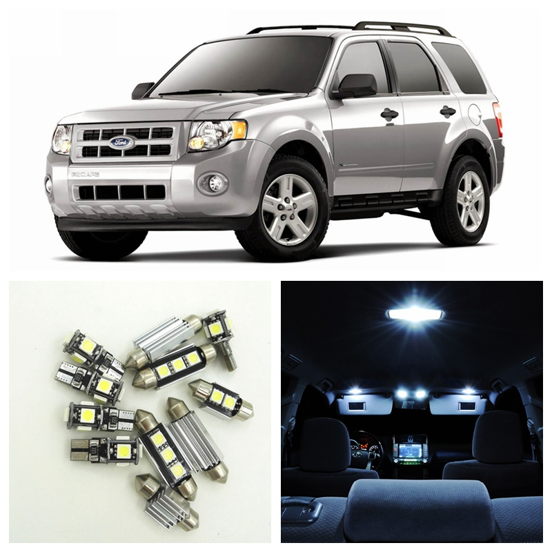 12Pcs White Car LED Light Bulbs Interior Package Kit For 2006-2012 Ford Escape Map Dome Trunk Step/Courtesy License Plate light белогаш м мельничук м economics finance management английский язык в сфере экономики финансов и менеджмента учебник