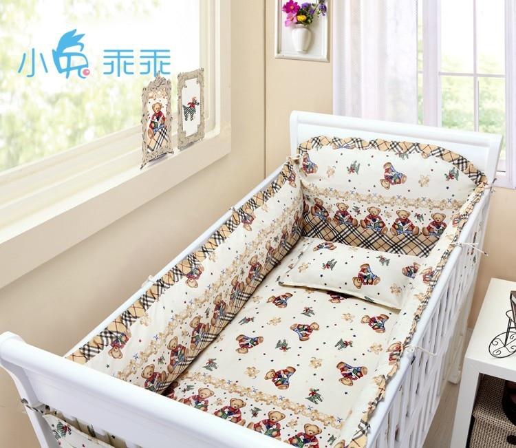 Promotion! 6/7PCS Baby Bedding Set Cotton Baby Duvet Covet Print Carton Quilt Cover For Baby Girl ,120*60/120*70cm flower print duvet cover set