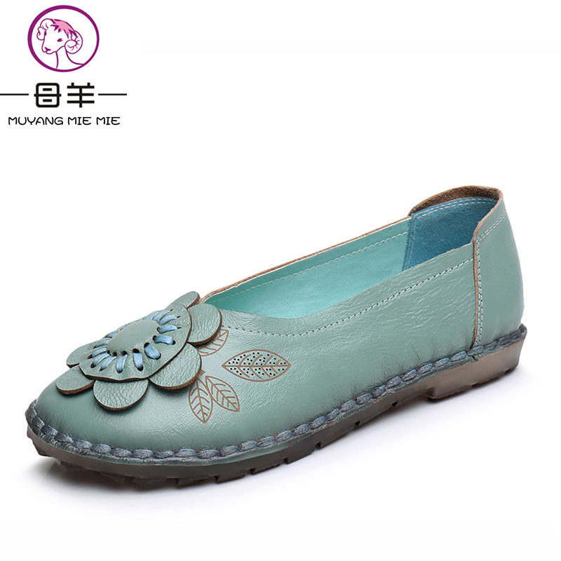 MUYANG MIE MIE Women Flats Fashion Genuine Leather Handmade Flat Shoes Woman Loafers Flower Soft Single Moccasins Women Shoes muyang mie mie genuine leather women shoes woman casual flower single flat shoes soft comfortable women flats