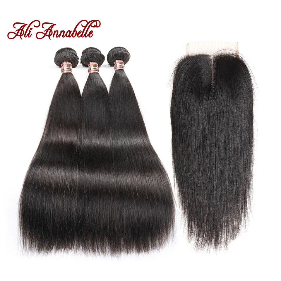 ALI ANNABELLE HAIR Brazilian Straight Hair With Middle Part Lace Closure Remy Human Hair Bundles 4PCS PACK 4*4 lace Closure