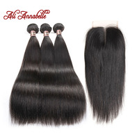 ALI ANNABELLE HAIR Brazilian Straight Hair With Middle Part Lace Closure Remy Human Hair Bundles 4PCS