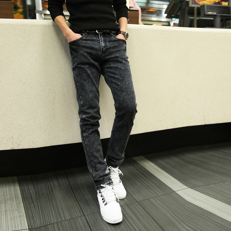 Left ROM 2019 New Men's Boutique Fashion Grey Slim Leisure   Jeans   / Male Casual Little Feet   Jeans   / Men Cowboy Trousers Pants