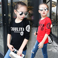 white red black long sleeve t-shirt girls clothes autumn letters skull printed little big girls tops fall 2017 children clothing