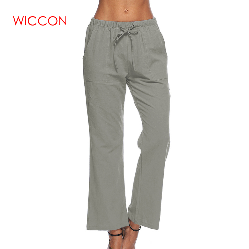 New Fashion Spring Trousers Women   Wide     Leg     Pants   With Pockets Lady Casual Long   Pants   Loose Solid Elegant   Pants   Pantalon S-5XL