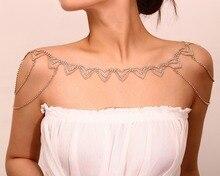Luxuoso sexy mulher brilhando cristal colar de instrução corpo jóias ombro cadeias colar para casamento feminino banquete jóias