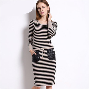 Cotton Striped Long Sleeve Women Knee lenght Dress 2019 Runway Style Dress Winter Casual Dress Elegant Party Knitted Dress
