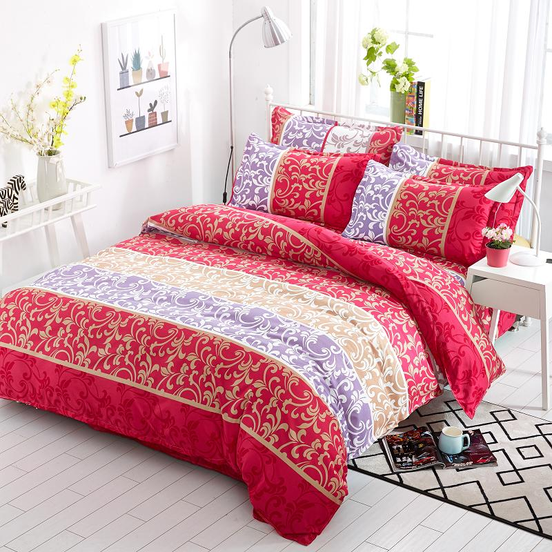 summer bedding sets 4 pcs cover red mood fashion bed sets lattice style very soft good quality king queen full twin