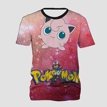 f6321ff350eb Pokemon Jigglypuff Espaço Galáxia T Shirt para As Mulheres Homens Verão  Camisas Curtas Da Luva T 3D Impresso T Tops Streetwear C..