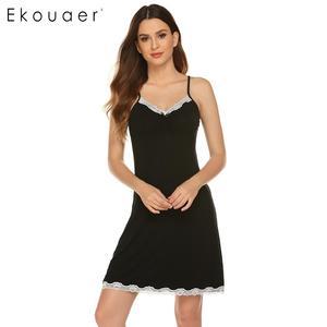 Image 2 - Ekouaer femmes Camisole chemise de nuit vêtements de nuit sexy col en v sans manches dentelle garniture arc plissé lâche été chemise de nuit chemises de nuit
