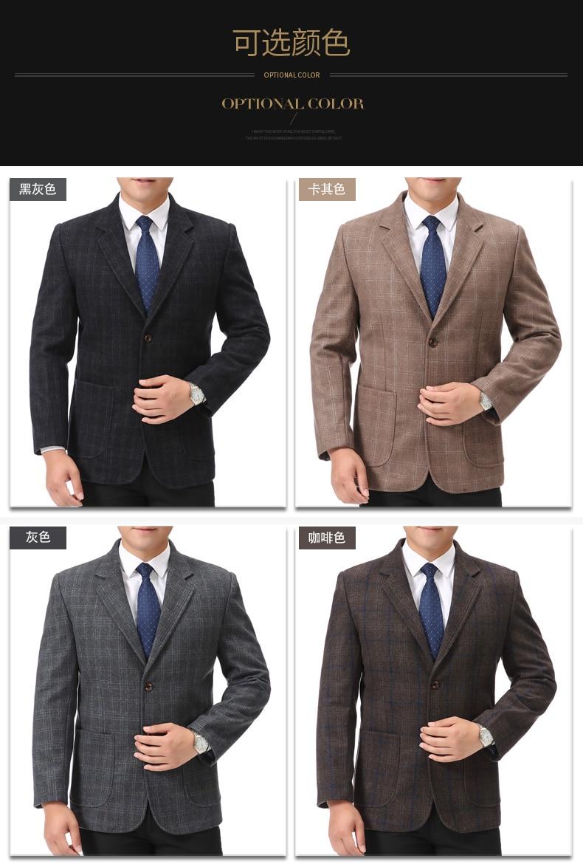 WAEOLSA Man Wool Blazer Plaid Jacket Suit Men Woollen Blends Garment Male Smart Casual Balzers Black Gray Jacket Suit Man (5)